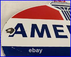 Vintage American Gasoline Porcelain Sign Service Station Standard Oil Torch Gas