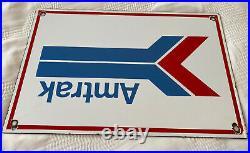 Vintage Amtrak Train Station Porcelain Sign Gas Motor Oil Pump Plate Rail Road