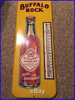 Vintage Antique Buffalo Rock Soda Cola Tin Non Porcelain Bottle Thermometer Sign