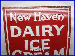 Vintage Antique Heavy Porcelain New Haven Dairy Ice Cream Sign