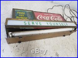 Vintage / Antique Lighted Coca Cola Serve yourself Advertising Sign RARE