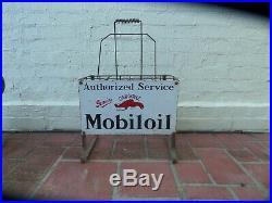 Vintage Antique Old Mobil Gargoyle Oil Bottle Stand Enamel Sign Petrol Station