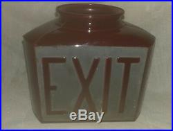Vintage Antique Ruby Red 3 sided Exit Sign, Theater Art Deco