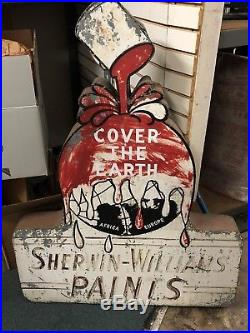 Vintage Antique Sherwin Williams Paint Cover the Earth Metal 48x36x5