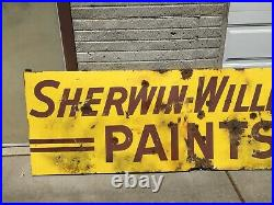 Vintage Antique Sherwin Williams Paint Porcelain Sign Paints Bullet Holes