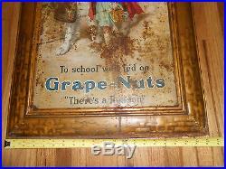 Vintage Antique Tin Litho Post Grape Nuts Self Framed Advertising Sign Girl Dog