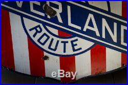 Vintage Antique Union Pacific Overland Route Porcelain Shield Sign