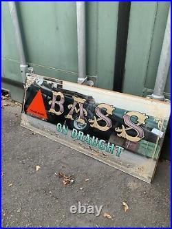 Vintage BASS Pub Mirror Bar Sign Home Man Cave