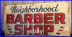 Vintage Barber Shop Sign 4' X 8' X 1/2