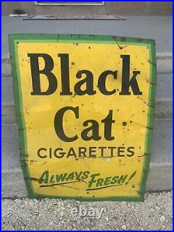 Vintage Black Cat Tobacco Cigarettes Advertising Tin Sign