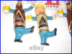 Vintage Blatz Beer Bottle Can Marching Advertising Sign Set Vacuform Plastic HTF
