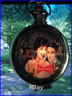 Vintage Budweiser Advertising Lighted Rotating Pocket Watch Clock Hanging Sign