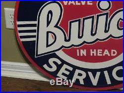 Vintage Buick Double Sided Porcelain Sign Valve In Head 30 Inches