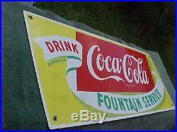 Vintage COCA COLA Porcelain Drink Fountain Service Sign C1940s-50s 28 X 12