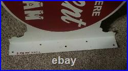 Vintage CRESCENT ICE CREAM SOLD HERE FLANGE SIGN Rare Old Advertising Sign
