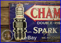 Vintage Champion Spark Plugs Automobile Metal Advertising Sign