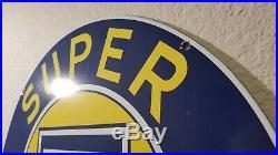 Vintage Chevrolet Porcelain Gas Auto Super Service Station Pump Plate Sign