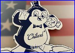 Vintage Chillard Ice Porcelain Sign Cube Gas Soda Beverage Cola Penguin Gasoline