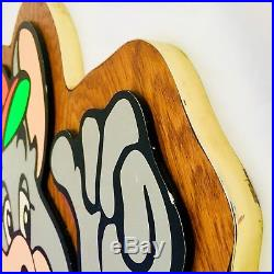 Vintage Chuck E Cheese Showbiz Pizza 3D Sign Advertising Restaurant Art Decor