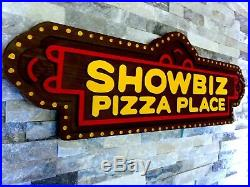 Vintage Chuck E Cheese Showbiz Pizza Advertising Sign Display Store Art Man Cave