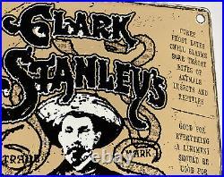 Vintage Clark Rattlesnake King Stanley's Porcelain Sign Oil Liniments Cowboy