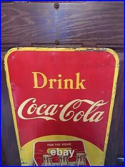 Vintage Coca-Cola 6 Pack Sign Tin Vertical Advertising Coke Sign