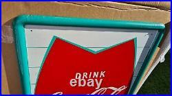 Vintage Coca Cola Fishtail Sign Soda Pop Gas Station 54 Metal Rare mca 1159