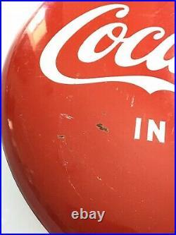 Vintage Coca Cola Metal Button Sign 12