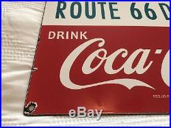 Vintage Coca Cola Porcelain Sign 66 Gas Station Soda Fountain Pepsi Mountain Dew
