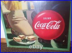 Vintage Coca Cola, cardboard sign, 1948
