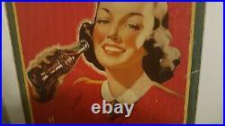 Vintage Coca Cola sign original 1940s sign advertising Girl Coke vintage 1941