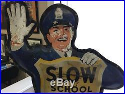 Vintage Coca-cola Policeman School Crossing Guard Original Coke Advertising Sign
