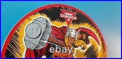 Vintage Conoco Gasoline Porcelain Thor Comic N-tane Service Station Rack Sign