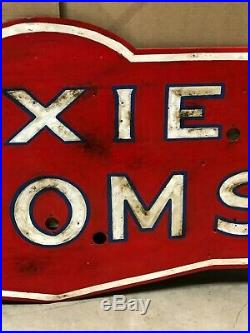 Vintage DIXIE ROOMS Sign NEON Skin Gas Oil OLD Motel Hotel Rent Inn CAN SHIP