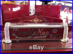 Vintage DOUBLE KAY NUTS Light-Up Art Deco Advertising Sign