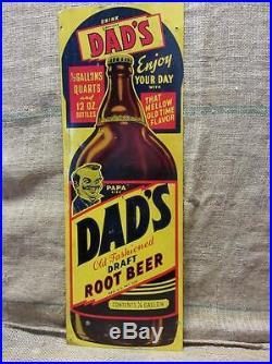 Vintage Dad's Root Beer Sign w Deep Color Antique Signs Soda Cola 8493