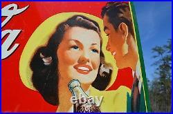 Vintage Delicious Refreshing Coca Cola Sign Young Couple Super Piece Rare