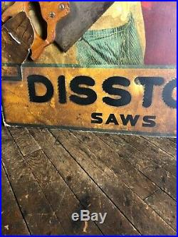 Vintage Disston Saws General Store Display Sign Hardware Workwear Overalls Tools