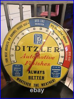 Vintage Ditzler PPG Automotive Paint 12 Glass Thermometer Amazing Colors Rare