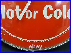 Vintage Dr. Pepper Hot or Cold Round Covered Thermometer Original