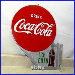 Vintage Drink Coca-Cola, Ice Cold Double Sided Flange Sign, Metal, A-M 4-51