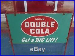 Vintage Drink Double Cola Soda Bottle Tin Metal Sign Display Rack Advertising