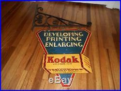 Vintage Early ORIG KODAK CAMERA FILM DEVELOPING 2-SDED ADVERTISING SIGN & HANGER