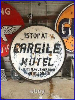 Vintage Early Pure Gas Porcelain Sign With Bracket