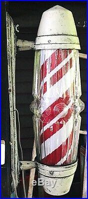 Vintage Electric BARBER Shop Pole Sign Postwar style Rotate and lighting
