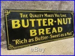 Vintage Embossed Butter Nut Bread Sign Antique Old Metal General Store 9966