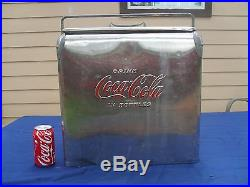 Vintage Embossed Coca Cola Stainless Steel Cooler Chest /W Bottle Opener