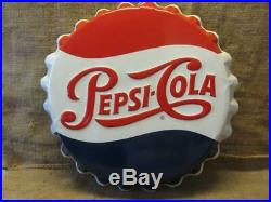 Vintage Embossed Pepsi Cola Bottle Cap Sign Stout Antique Pepsi Soda 9953