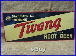 Vintage Embossed Twang Root Beer Sign 28 X 12 Antique Signs Soda Cola 9757