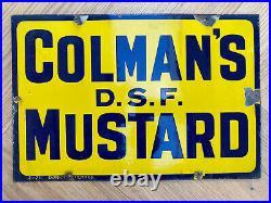 Vintage Enamel Colmans dsf Mustard One Sided Advertising Sign